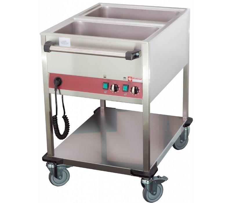 Diamond Bain-Marie Trolley - 2 x 1 / 1GN - 200mm Deep - Individually adjustable - 900x650x (H) 900mm