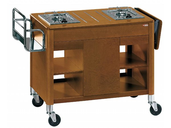 Diamond Flambeerwagen Buche | 2 Gasöfen | 4 Räder 2 mit Bremse | 1115 / 1320x550x810 (h) mm
