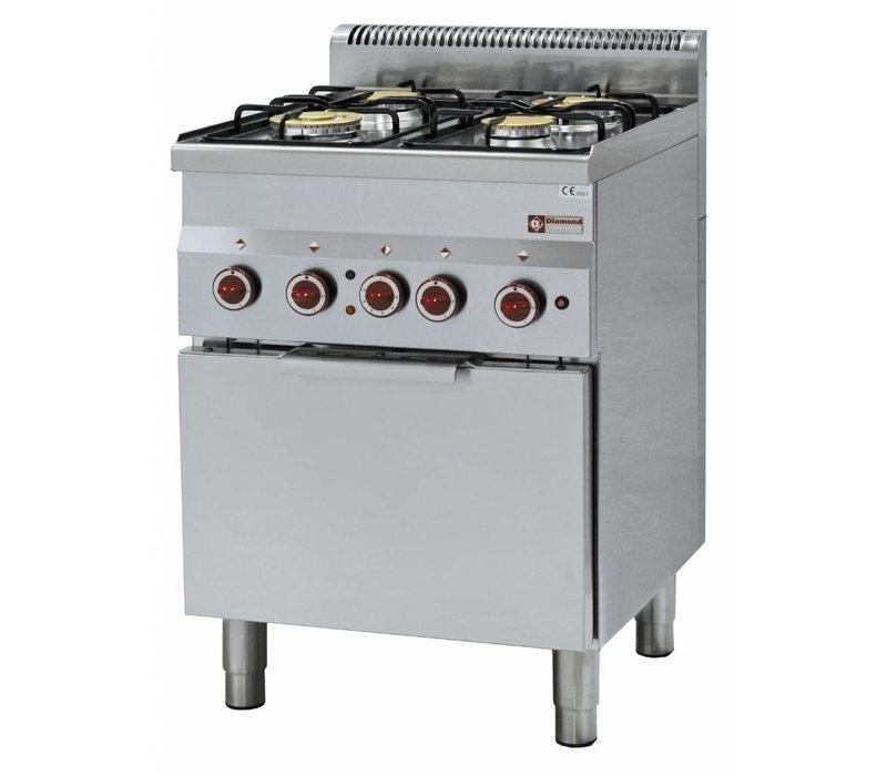 Diamond Gas stove | 4 Burners | 3,3 and 3,6kW | With Electric Convection Oven | 600x600x (h) 850 / 970mm