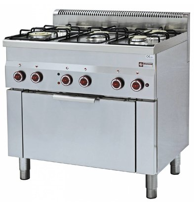 Diamond Gas stove | 5 Burners | 3,3 and 3,6kW | With Electric Convection Oven | 900x600x (h) 850 / 970mm