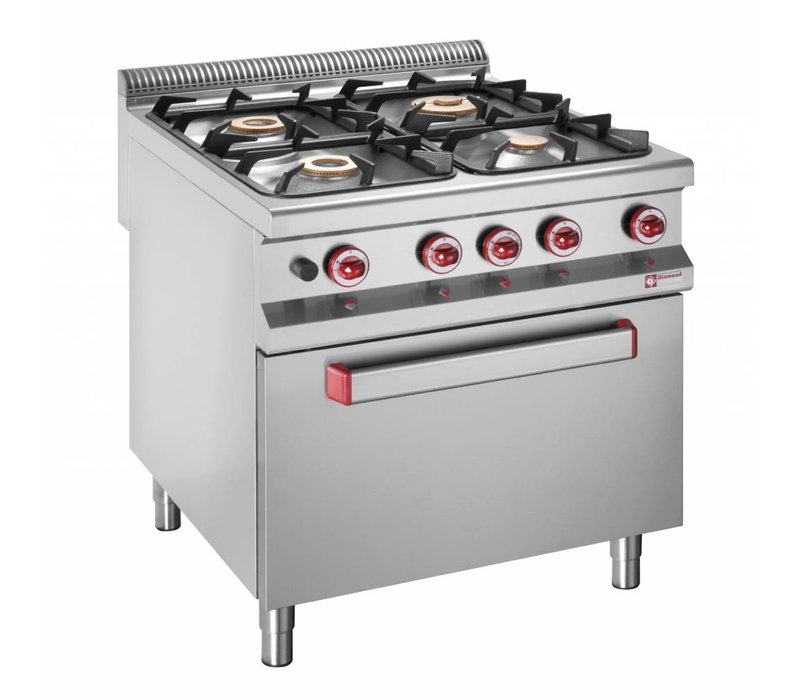 Diamond stove | 4 Burners | 3.2 and 5.5, and 7kW | Gas Oven | 800x900x (h) 850 / 920mm