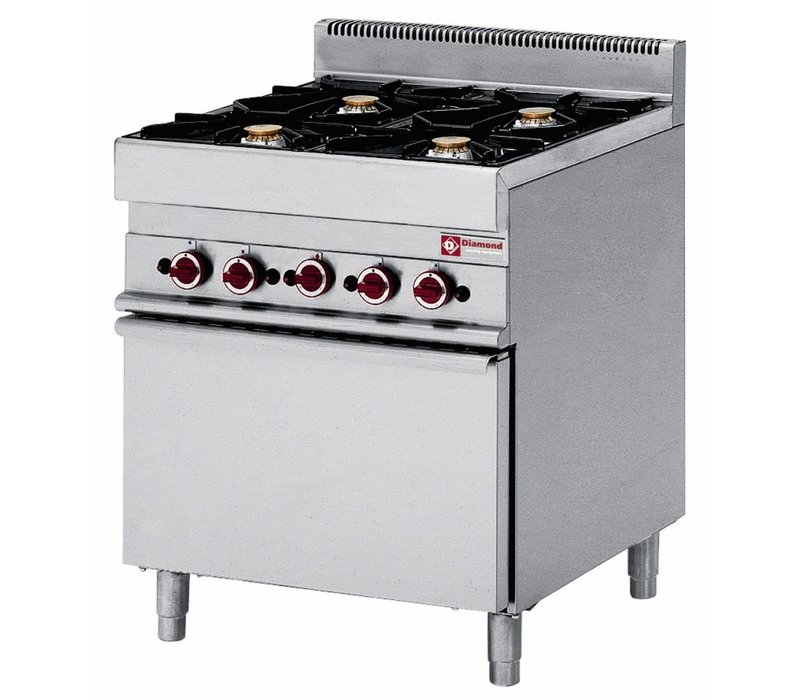 Diamond Gas stove | 4 Burners | 400V | 3.6 and 5kW | With Electric convention oven | 700x650x (h) 850 / 950mm
