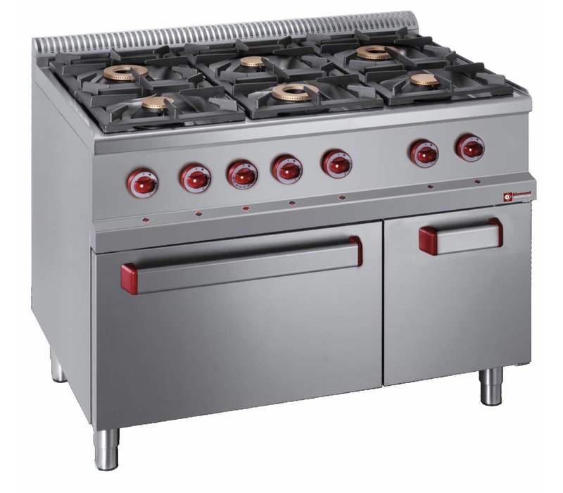 Diamond Gas stove   6 Burners   3.5 and 6kW   Neutral cabinet   1100x700x (h) 850 / 920mm