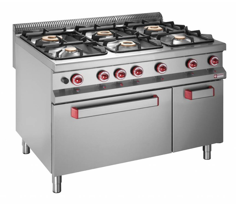 Diamond Gas stove | 6 Burners | 3.2 and 5.5, and 7kW | Gas Oven | Neutral cabinet | 1200x900x (h) 850 / 920mm