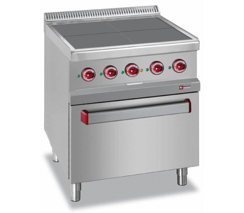 Diamond Fornuis Elektrisch + Oven GN2/1 | 4 Platen 300x300mm | 400V/15,3kW | 700x700x850/920(h)mm
