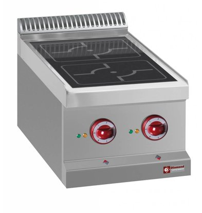 Diamond Stainless steel stove Tabletop | 2 Induction Zones Ø220mm | 400V / 7kW | 400x700x250 / 320 (h) mm