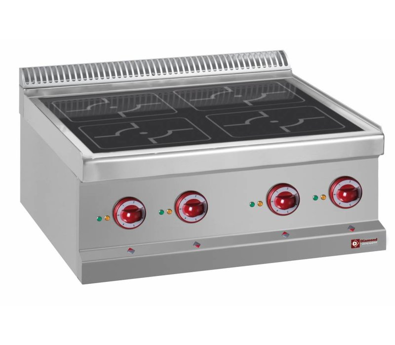 Diamond Stainless steel stove Tabletop | 4 induction zones Ø220mm | 400V / 14kW | 700x700x250 / 320 (h) mm