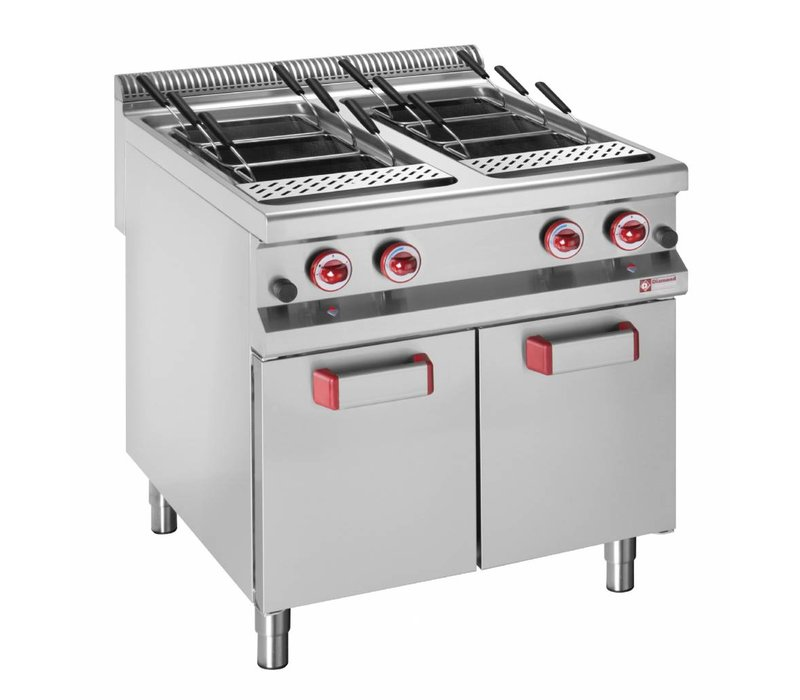 Diamond Pasta Cooker 14KW + 14KW | 2x GN1 / 1 | With Substructure | gas | 2x 40 Liter | 800x900x850 / 920 (h) mm