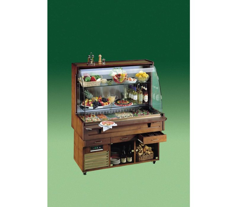 Diamond Mobile Refrigerated display case - 4x GN1 / 1 | 150mm Deep - Solid Wood - 230V / 600W - 1430x750 / 1080x1740 (h) mm