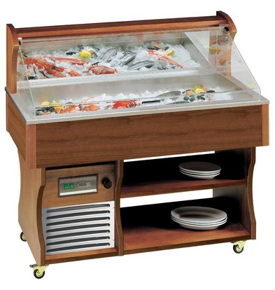 Diamond Mobile Fish Refrigerated display case | Vistoog | Solid Wood | -2 ° to 0 ° C | 230V / 750W | 2057x745x1285 / 1605 (h) mm