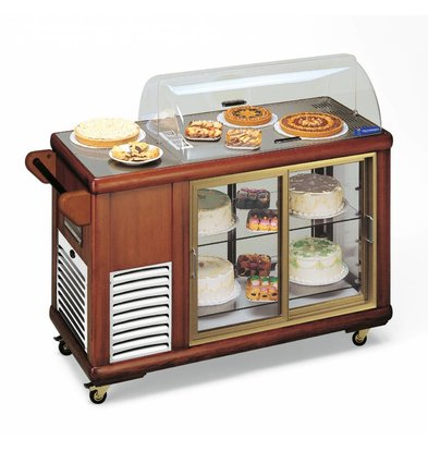 Diamond Mobile Pastry Refrigerated display case | Solid Wood | 2 Sliding plexiglass | 230V / 500W | 1339x560x1078 (h) mm