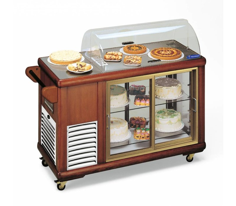 Diamond Mobile Pastry Refrigerated display case | Solid Wood | 2 Sliding plexiglass | 230V / 500W | 1339x560x1078 (h) mm