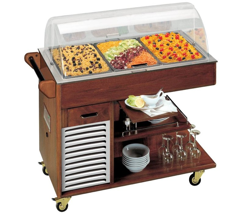 Diamond Mobile Refrigerated display case | 3x GN1 / 1 | Solid Wood | 230V / 290W | 1170x675x1110 (h) mm