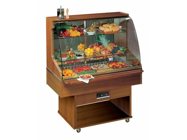 Diamond Mobile Refrigerated display case - 4x GN1 / 1 | 100mm Deep - Solid Wood - 230V / 600W - 1423x750 / 998x1750 (h) mm