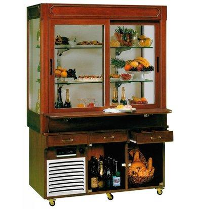 Diamond Mobile Refrigerated display case | 2 Sliding doors | 4 Illuminated Presentation Boxes | 230V / 940W | 2066x920 / 1113x2102 (h) mm