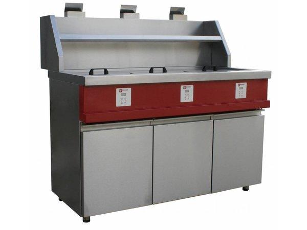 Diamond Elektronische Gas Fryer | Rund Bottiche 3x13 Liter | Inkl. Ablassventil | 230V / 0,1kW | 1445x875x940 / 1320 (h) mm