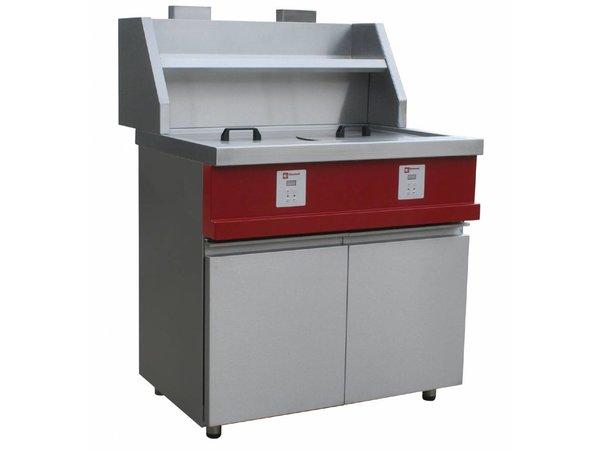 Diamond Elektronische Gas Fryer | Rund Bottiche 2x13 Liter | Inkl. Ablassventil | 230V / 0,1kW | 960x875x940 / 1320 (h) mm