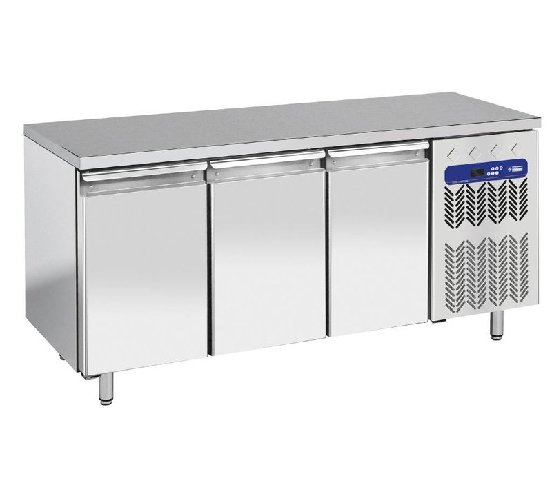 Diamond Cool Workbench - RVS - 3 door - 181x70x (h) 88cm - 405 Liter - 1 / 1GN