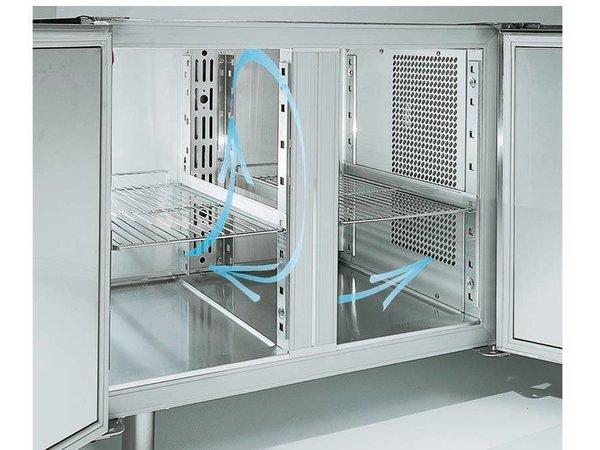 Diamond Cool Workbench with Splash Ridge - 3 door - 181x70x (h) 88cm - 405 liters - 1 / 1GN