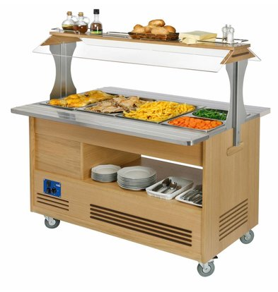 Diamond Bain Marie Refrigerated Salad-Buffet Bar | 4 x 1 / 1GN - Light Wood