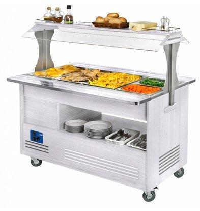 Diamond Bain Marie Gekühlte Salat-Buffet Bar | 4 x 1/1 GN - Weiß Holz