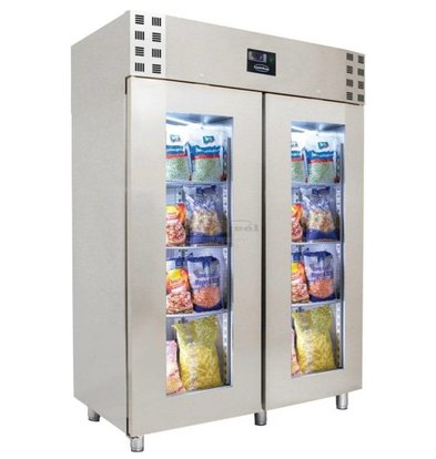 Combisteel Fridge Stainless Steel with Glass Doors | Type GN2 / 1 | 1400 Ltr | 1400x810x2050 (h) mm