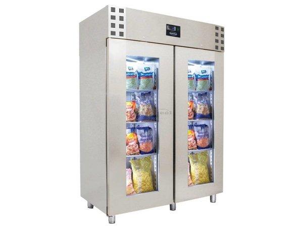 Combisteel Edelstahl-Kühlschrank mit Glastüren | Geben Sie GN2 / 1 | 1400 Ltr | 1400x810x2050 (h) mm