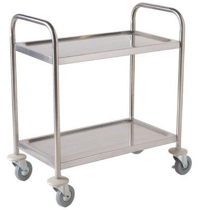XXLselect Edelstahl-Trolley Large | Stille auf Rädern | 2 Blätter | 860x535x93 (h) mm | 128 kg Fassungsvermögen
