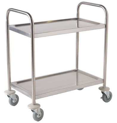 XXLselect Stainless Steel Serving Car on Smooth Wheels | 2 sheets | 710x405x810 (h) mm | 125 kg carrying capacity