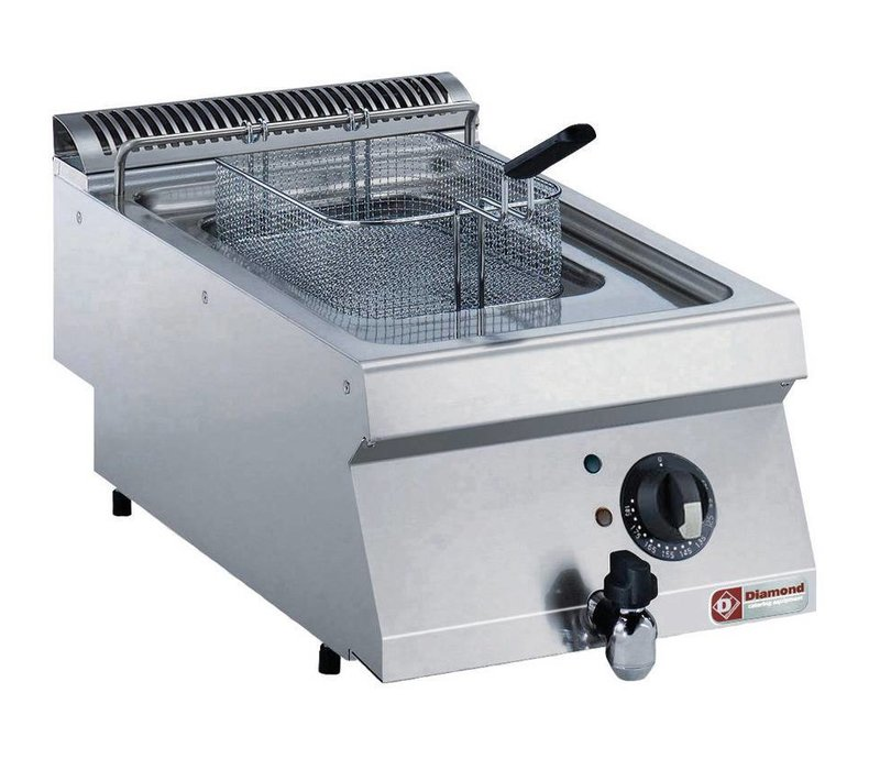 Diamond Gas Fryer RVS | 7 Liter | Mit Kaltzone | 120 ° C und 190 ° C | 400x700x250 / 320 (h) mm