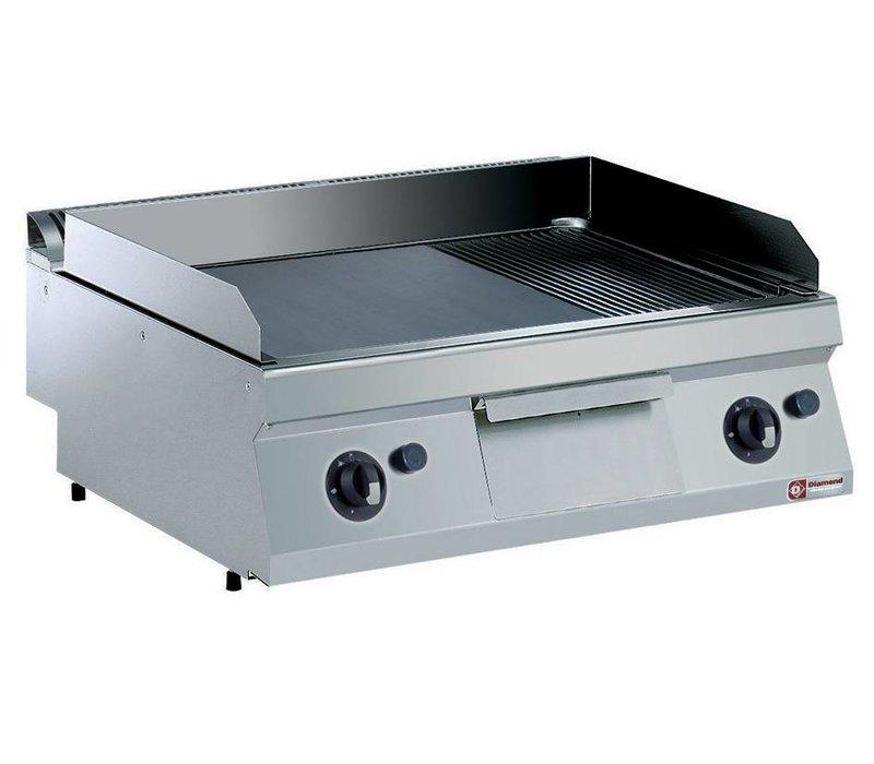 Diamond Kookplaat Gas RVS | 2/3 Glad en 1/3 Geribd | Verchroomde Plaat | tot 300°C | 800x700x250/320(h)mm