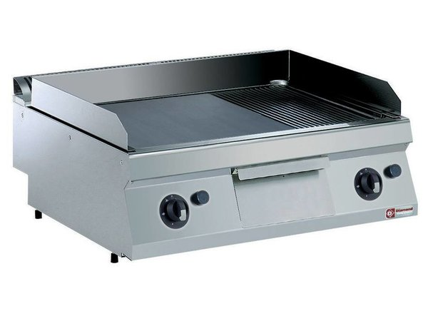 Diamond Stainless steel gas hob   Smooth 2/3 and 1/3 Ribbed   200 ° C to 400 ° C   800x700x250 / 320 (h) mm