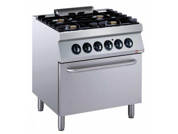 Diamond Fornuis | 4 Branders met Elektrische Oven | 400V | 5,5kW | 800x700x(h)850/920mm