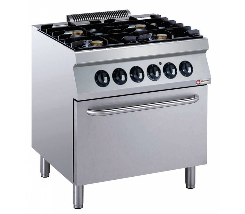 Diamond stove | 4 burners with electric oven | 400V | 5.5 kW | 800x700x (h) 850 / 920mm