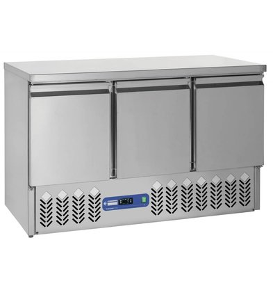 Diamond Fridge - stainless steel - 3 doors - 1365x70x (h) 87cm - 380 liters