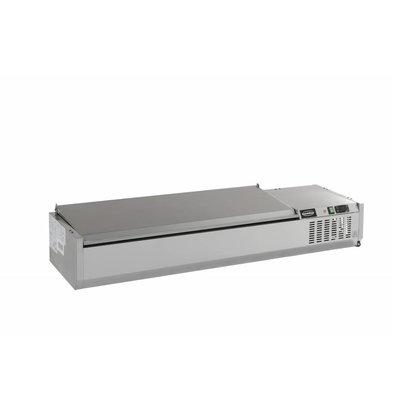 Combisteel Opzetvitrine RVS Deksel - 5 x 1/4gn - 1200x395x(h)225mm