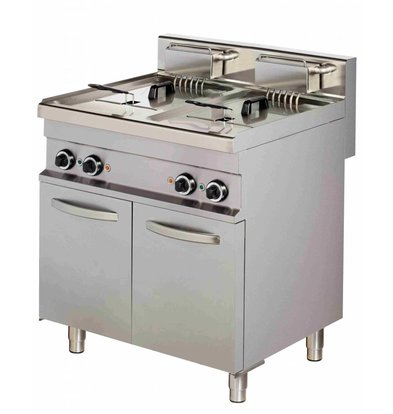 Combisteel Friteuse | Electric | 2 x 10 liters | 400V | 2 x 9kW | With chassis | 800x700x (h) 900mm