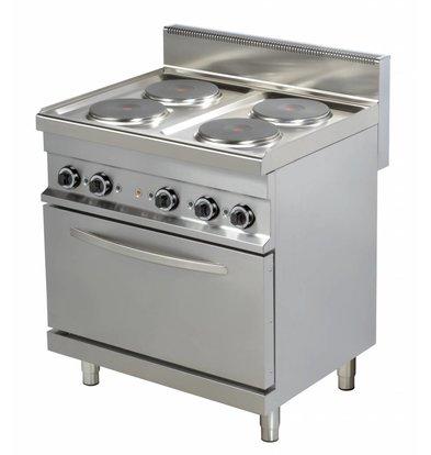 Combisteel Fornuis Elektrisch 4 Pits met Oven - 4 x 2,6kw - 800x700x(h)900mm