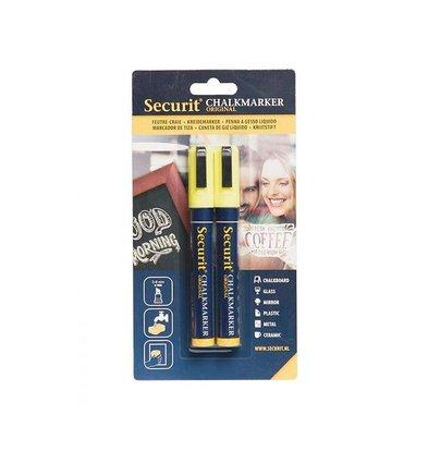 Securit Set von 2 Medium Chalk Marker | gelb | 2-6mm