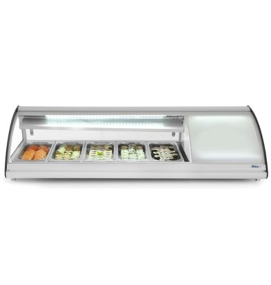 Hendi Sushi Display Gekoeld | 5x GN1/3 | 160W/230V | 1307x450x330(h)mm