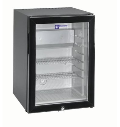 Diamond Stille Minibar koelkast - 42 Liter - glazen deur - XXL Aanbieding - 40x45x(h)56cm