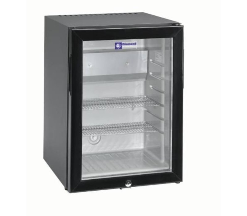 Diamond Silent Mini fridge - 42 Liter - glass door - XXL Offer - 40x45x (h) 56cm