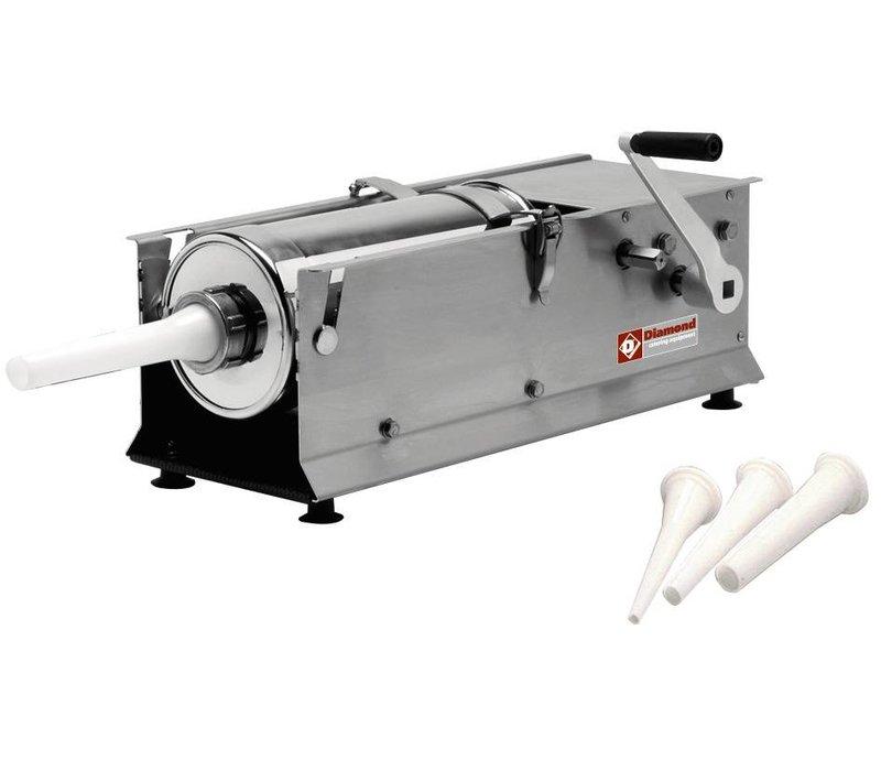 Diamond Worstenvulmachine - Handbuch - 7 Liter - Edelstahl - 660x220x (H) 280 mm