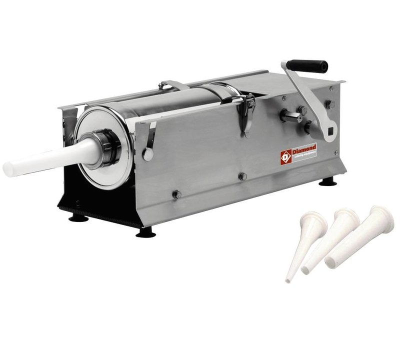 Diamond Worstenvulmachine - Manual - 7 Liter - Stainless Steel - 660x220x (H) 280mm