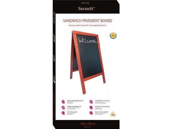 Securit Stoepbord 100% Hardhout Mahogany - Duplo 70x135 - DELUXE