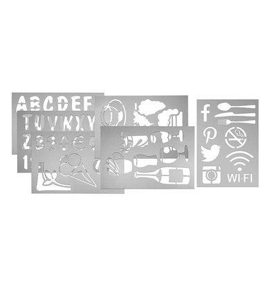 Securit Template-Set für Wandtafeln - 5 Schablonen - Buchstaben / Zahlen / Symbole / Bilder