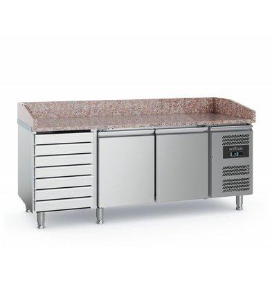 Ecofrost Pizza Werkbank - Edelstahl - 2 Türen 7 Schubladen - 2020x800x (h) 100cm