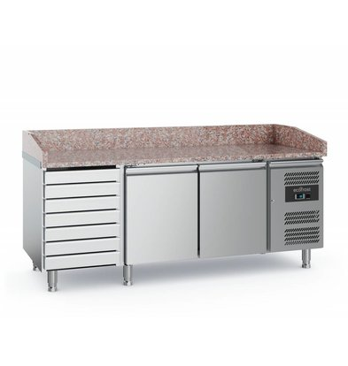 Ecofrost Pizza workbench - stainless steel - 2 doors 7 drawers - 2020x800x (h) 100cm