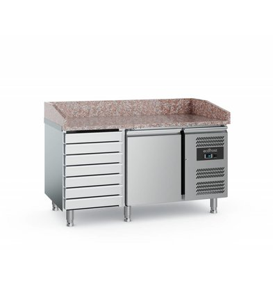 Ecofrost Pizza workbench - stainless steel - 1 door 7 drawers - 152x800x (h) 100cm