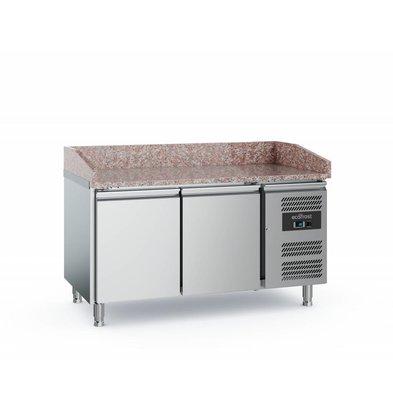 Ecofrost Pizzawerkbank - RVS - 2 deurs - 152x800x(h)100cm